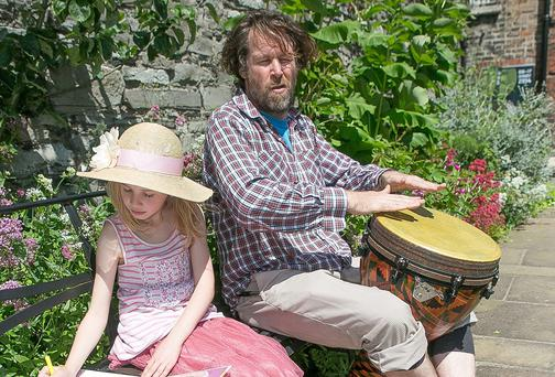 Liam O Maonlai and his daughter Pema at the launch of the programme for 2014 Kilkenny Arts Festival. Photo: Pat Moore.