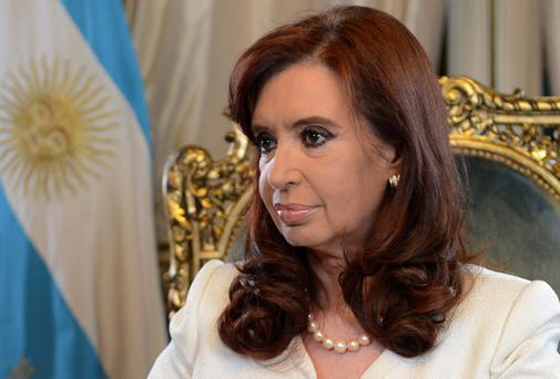 Argentina's President Cristina Fernandez de Kirchner addresses the nation