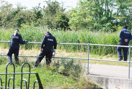 Gardai seaching at the rear of Kilcronan Close in Clondalkin after the attack