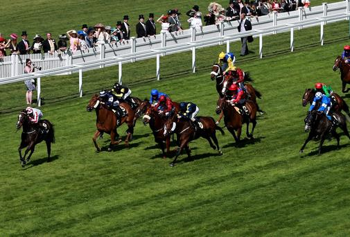 Sole Power (far left) ridden by Richard Hughes on their way to victory in The King's Stand Stakes during Day One of the 2014 Royal Ascot Meeting at Ascot Racecourse, Berkshire. David Davies/PA Wire