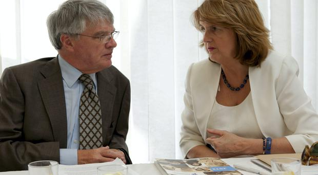 The minister for Social Protection, Joan Burton TD and Pensions Ombudsman, Paul Kenny at the launch of the Pensions Ombudsman's 2013 Annual Report yesterday.