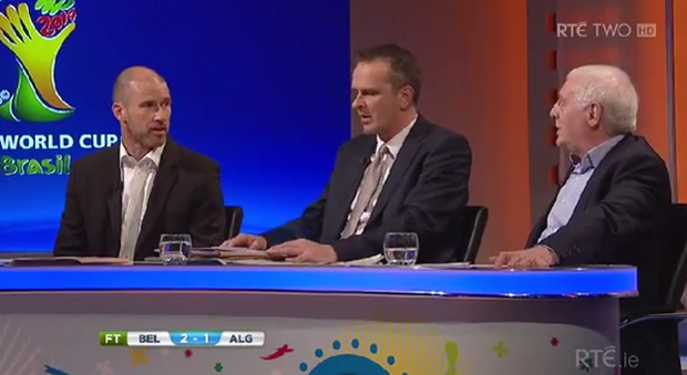 Kenny Cunningham (left) with fellow RTE analysts Didi Hamann and Eamon Dunphy