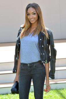 Jourdan Dunn attends the Burberry Prorsum show during the London Collections: Men SS15