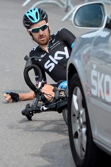 Britain's Bradley Wiggins of Team Sky