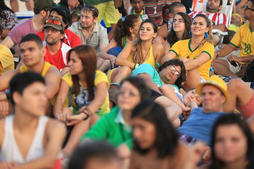 Brazil Fans watch the Brazil v Mexico match on a big screen on Copacabana Beach, Rio de Janeiro, Brazil