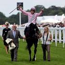 The Fugue and William Buick celebrate their victory in the Prince of Wales´s Stakes during Day Two of the 2014 Royal Ascot Meeting at Ascot Racecourse