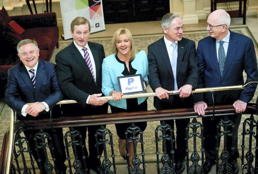 An Taoiseach Enda Kenny, Louise Phelan, PayaPal's Vice President of Global Operations for Europe, Middle East and Africa with, from left, Brendan Howlin, Minister for Public Expenditure and Reform, Richard Bruton , Minister for Jobs , Enterprise & Innovation and Barry O Leary, IDA Ireland