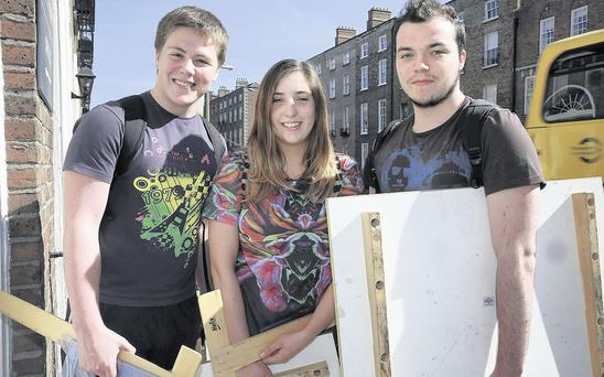 18/6/14 Students Sean McCormack, Rathfarnham, Niamh Hurley, Castleknock and Jack Reilly, Dunboyne pictured at the Institute of Education on Leeson Street after finishing their Design and Communication Graphics exam in the Leaving Cert. Picture:Arthur Carron