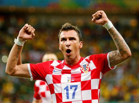 Croatia's Mario Mandzukic celebrates after scoring against Cameroon. Reuters