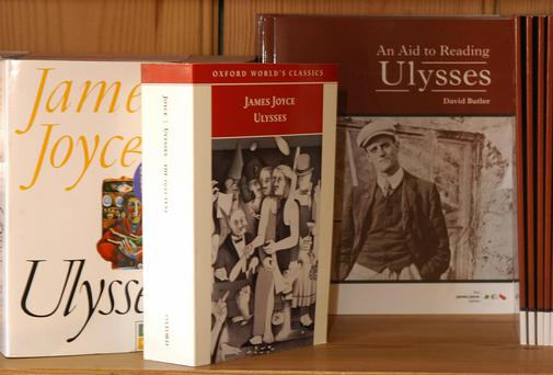 Copies of the famous literary masterpiece 'Ulysses' by Irishman James Joyce