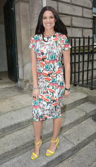 Caroline Morahan seen arriving at the Littlewoods Autumn Winter 2014 Fashion Event