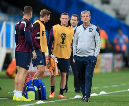 England manager Roy Hodgson during a training session at the Estadio do Sao Paulo, Sao Paulo