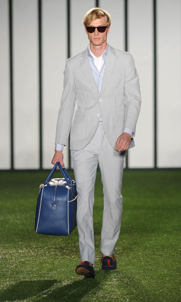 LONDON, ENGLAND - JUNE 16: A model walks the runway at the Hackett show during the London Collections: Men SS15 on June 16, 2014 in London, England. (Photo by Stuart C. Wilson/Getty Images)