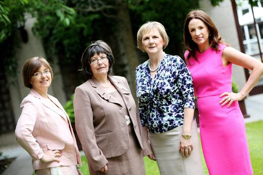 Picture shows l-r, Cathriona Hallahan, Managing Director, Microsoft Ireland; Josephine Feehily, Chairman, Office of the Revenue Commissioners; Brid Horan, Deputy Chief Executive, ESB and Ramona Nicholas, CEO & Co-Founder, Cara Pharmacy Group at the Leadership Summit and Awards dinner for Ireland's Most Powerful WomenPIC: MAXWELLS