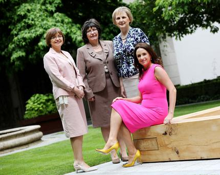 Picture shows l-r, Cathriona Hallahan, Managing Director, Microsoft Ireland; Josephine Feehily, Chairman, Office of the Revenue Commissioners; Brid Horan, Deputy Chief Executive, ESB and Ramona Nicholas, CEO & Co-Founder, Cara Pharmacy Group at the Leadership Summit and Awards dinner for Ireland's Most Powerful Women PIC: MAXWELLS