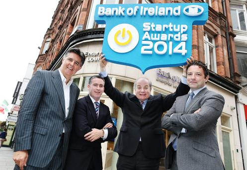 Pictured at the launch of the Bank of Ireland Startup Awards are Gerry Prizeman, Head of Enterprise Development at Bank of Ireland; Damien English, TD and Chairperson of the Oireachtas Joint Committee for Jobs, Enterprise and Innovation; leading Irish entrepreneur, Dragon's Den and Startup Awards judge Gavin Duffy and Stephen Dillon, Founder of Startups.ie. Photo: Maxwells