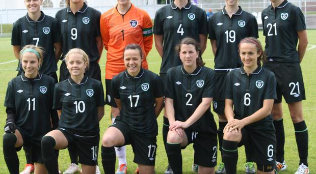 The starting Ireland women's team that drew 0-0 with Russia in their World Cup qualifier in Krasnoarmeysk.