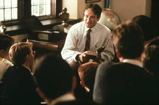 Robin Williams as the inspirational teacher in Dead Poets Society.