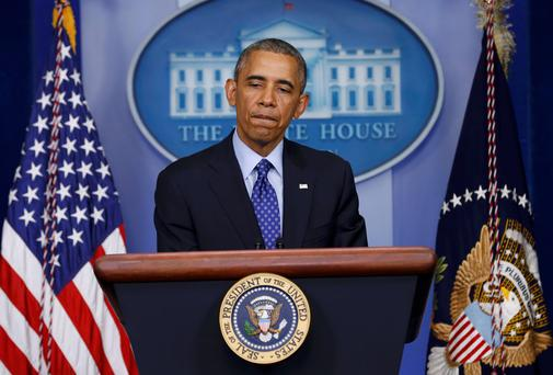 US President Barack Obama speaks at the White House about the Iraq situation in Washington. Photo: REUTERS