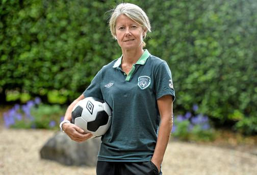 13 June 2014; Republic of Ireland manager Sue Ronan following a press conference ahead of their FIFA Women's World Cup Qualifier against Croatia on Saturday. Republic of Ireland Womens National Squad Press Conference, Dunboyne Castle, Dunboyne, Co Meath. Picture credit: Ramsey Cardy / SPORTSFILE