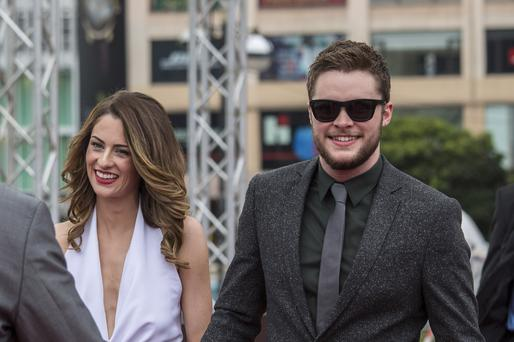 "Jack Reynor and Madeline Mulqueen arrive at the worldwide premiere screening of ""Transformers: Age of Extinction"""