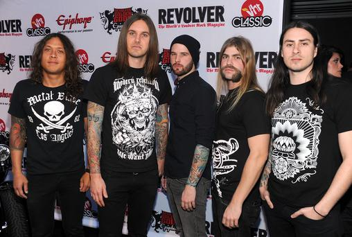 Music group As I Lay Dying. Tim Lambesis is second from left.
