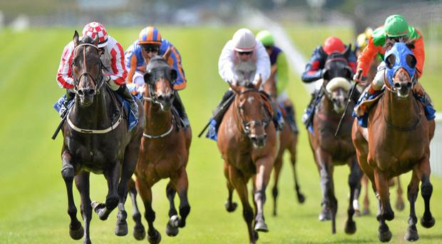 Slade Power and Wayne Lordan up (left), on their way to winning the Phoenix Sprint Stakes at the Curragh last August, line up at Royal Ascot this afternoon bidding to give trainer Eddie Lynam a group 1 sprint double at the meeting. Picture credit: Brian Lawless / SPORTSFILE