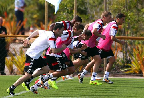 The Germany players train at their seculded Campo Bahia resort. Photo: Martin Rose/Getty Images