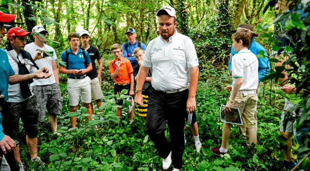 Shane Lowry looks for his ball which was lost in the trees on the 18th hole during day two of the Irish Open at Fota Island. Photo: Matt Browne / SPORTSFILE