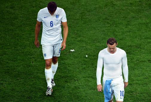Wayne Rooney has only had a marginal impact for England during their World Cup campaign, while Phil Jagielka has struggled to shine. Photo: Matthias Hangst/Getty Images