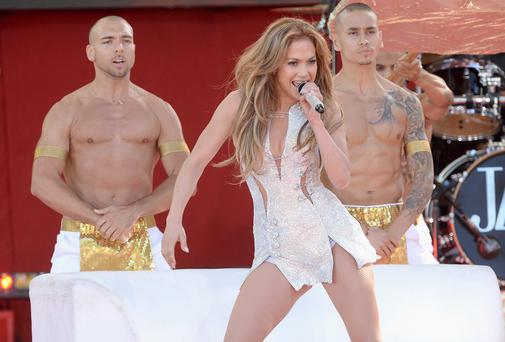 "Jennifer Lopez performs on ABC's ""Good Morning America"" at Rumsey Playfield on June 20, 2014 in New York City."