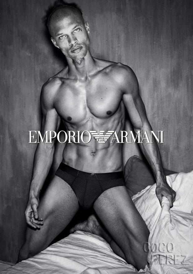 Jeremy Meeks modelling for Emporio Armani.