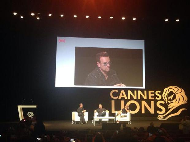 Bono, Jonathan Ive and Shane Smith at Cannes Lions Festival 2014. Picture: @LucianaGomez