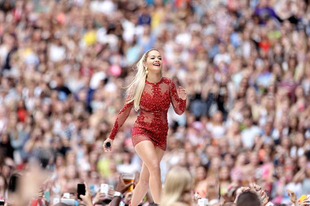 Rita Ora performs during Capital FM's Summertime Ball at Wembley Stadium, London