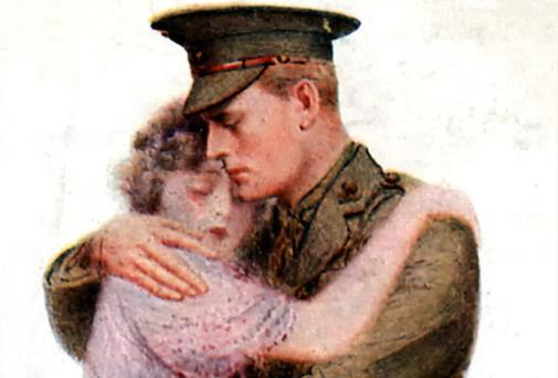 Twixt Love and Duty: A World War I postcard from 1914, showing a British officer saying farewell to a loved one