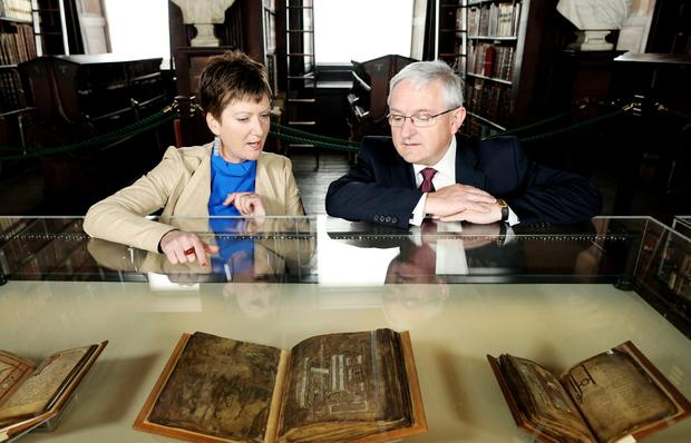 Susie Bioletti, Keeper Preservation & Conservation, Trinity College Dublin and Peter Keegan, Country Executive for Ireland, Bank of America Merrill Lynch, who are to fund special preservation work on four ancient manuscripts