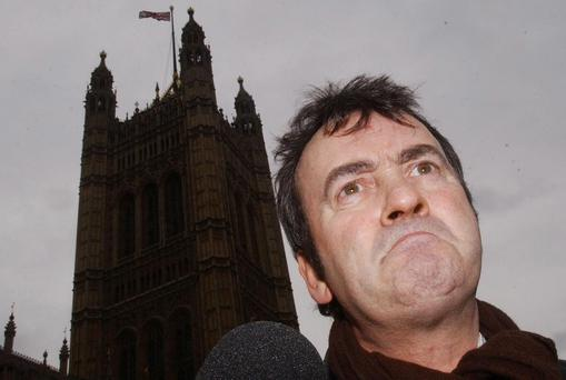 File photo dated 09/02/05 of Gerry Conlon outside the House of Commons where Prime Minister Tony Blair apologised for him being wrongly convicted of the Guildford pub bombings