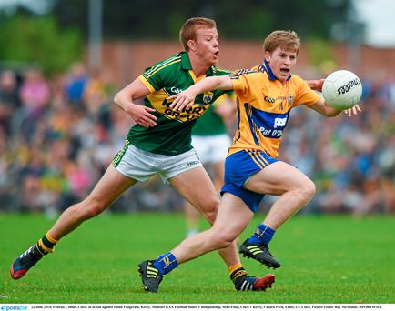 Podge Collins, Clare, in action against Fionn Fitzgerald