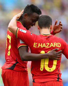Divock Origi of Belgium celebrates scoring his team's first goal with Eden Hazard during the 2014 FIFA World Cup Brazil Group H match between Belgium and Russia