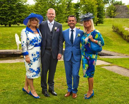 RTE's Aengus MacGrianna's wedding today to Terry Gill. Former newscaster Anne Doyle (far right) was among the guests. DMC Photography