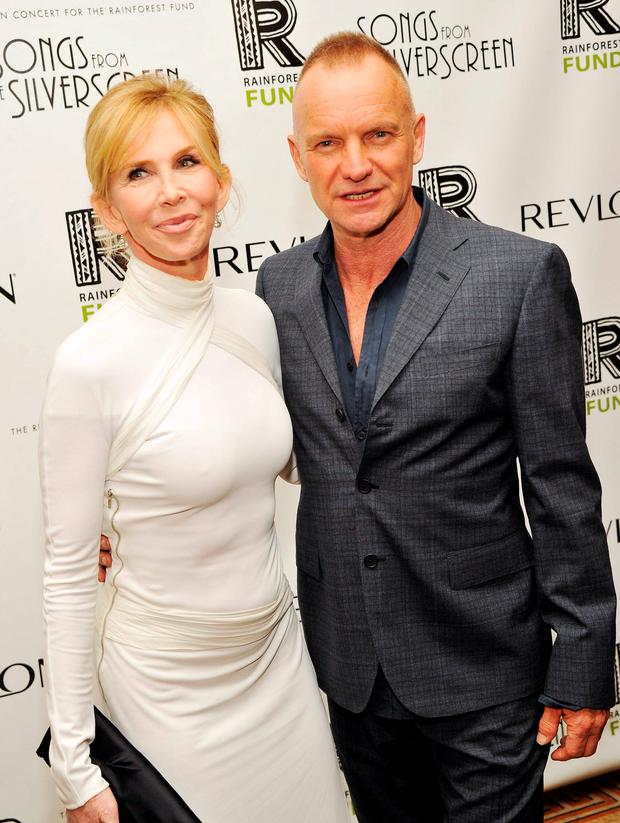 Sting with wife Trudie Styler at a fundraising event for the rainforest in 2012. Getty Images