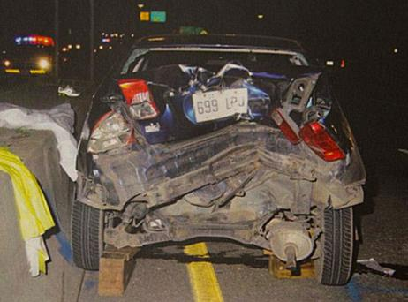 Czornobaj's car after the crash