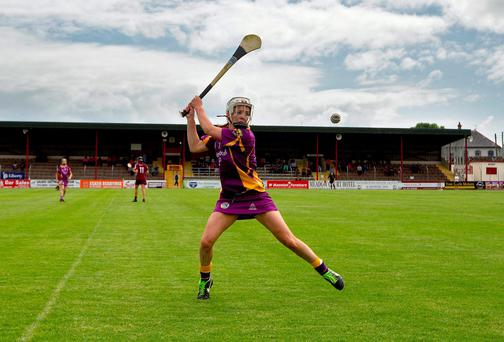 Wexford's Kate Kelly prepares to take a late free against Galway. Photo: INPHO/Ryan Byrne