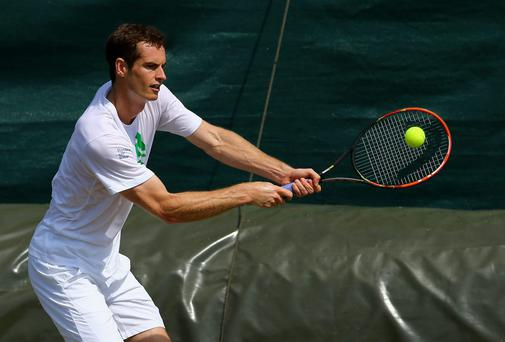 Andy Murray in action during a practice session during previews ahead of the Wimbledon Championships