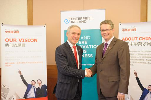 Richard Bruton TD, Minister for Jobs, Enterprise and Innovation and Andrew North, CEO, ChinaHR at the announcement this morning of a €30m investment in its business by ChinaHR.