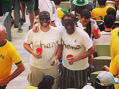 Germany fans with their faces painted black before the game with Ghana on Saturday