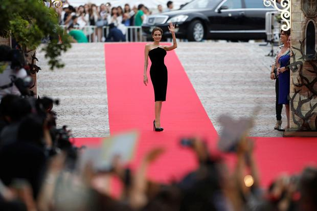 Actress Angelina Jolie makes an appearance before fans at the Japan premiere of
