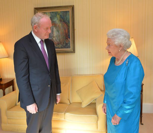 Queen Elizabeth II meets First Minister Martin McGuinness during a private audience at Hillsborough Castle, Belfast