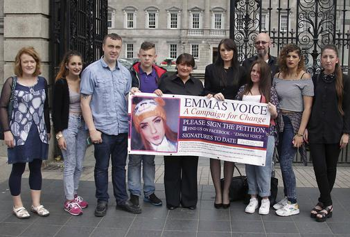 Caroline Sloan with family and friends outside Leinster house