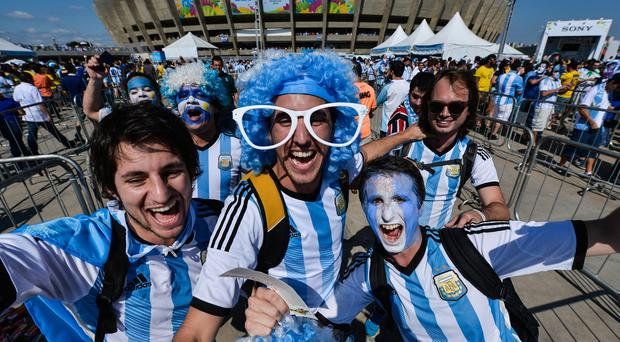 Argentina fans arrive at Mireirao stadium for the game against Iran. Photo: Pedro Vilela/Getty Images